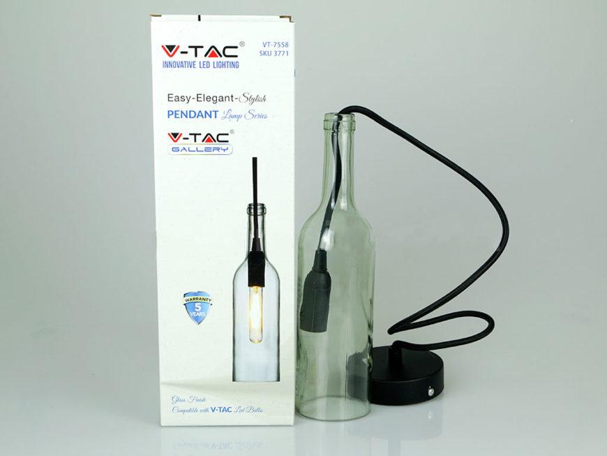 Κρεμαστό Φωτιστικό Οροφής Μονόφωτο E14 Γυάλινο Μπουκάλι Διάφανο V-TAC 3771