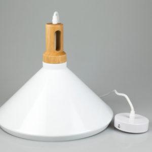 Κρεμαστό Φωτιστικό Οροφής Μονόφωτο E27 ø350 Σιδερένιο με Ξύλινη Βάση Λευκό V-TAC 3763