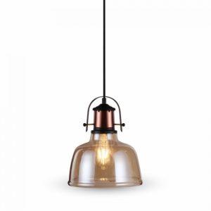 Κρεμαστό Φωτιστικό Οροφής Μονόφωτο E27 Γυάλινο Amber Cover V-TAC