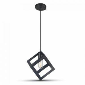 Κρεμαστό Φωτιστικό Οροφής Μονόφωτο E27 Κύβος Μαύρο V-TAC
