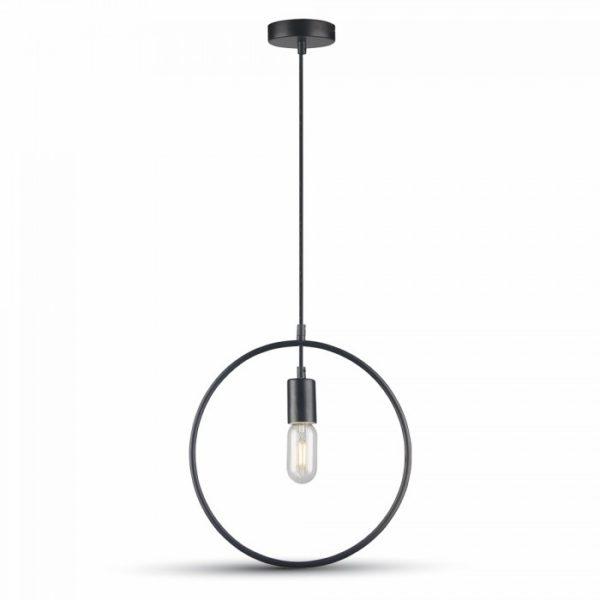 Κρεμαστό Φωτιστικό Οροφής Μονόφωτο E27 Κύκλος Μαύρος V-TAC