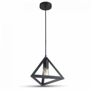 Κρεμαστό Φωτιστικό Οροφής Μονόφωτο E27 Πυραμίδα Μαύρο V-TAC