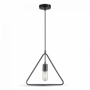 Κρεμαστό Φωτιστικό Οροφής Μονόφωτο E27 Τρίγωνο Μαύρο V-TAC