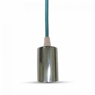Κρεμαστό Φωτιστικό Οροφής Μονόφωτο E27 Χρώμιο με Γαλάζιο Καλώδιο V-TAC