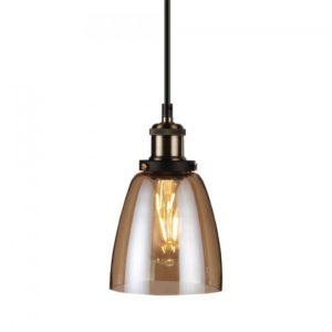 Κρεμαστό Φωτιστικό Οροφής Μονόφωτο E27 ø140 Γυάλινο Amber Cover V-TAC
