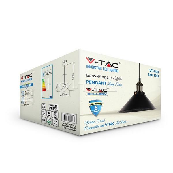 Κρεμαστό Φωτιστικό Οροφής Μονόφωτο E27 Μεταλλικό Μαύρο V-TAC
