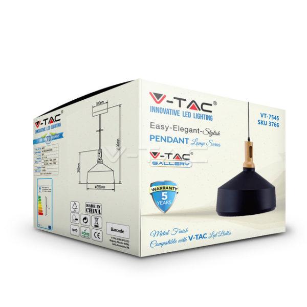 Κρεμαστό Φωτιστικό Οροφής Μονόφωτο E27 ø350 με Ξύλινη Βάση Μαύρο V-TAC