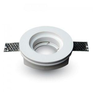 Γύψινη Βάση Σποτ GU10 V-TAC Χωνευτή Στρογγυλή Λευκή