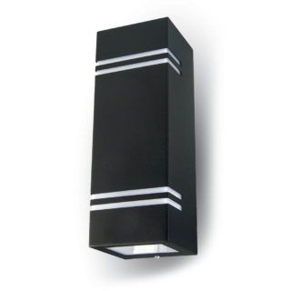 Επιτοίχιο Φωτιστικό LED 2xGU10 Μαύρο ΙP44 Ατσάλι V-TAC