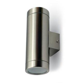 Επιτοίχιο Φωτιστικό LED 2xGU10 Χρώμιο ΙP44 Ανοξείδωτο Ατσάλι V-TAC