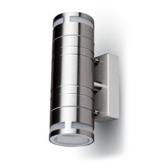 Επιτοίχιο Φωτιστικό LED 2xGU10 Χρώμιο ΙP44 Ατσάλι - Γυαλί V-TAC