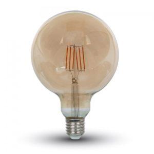 LED Λάμπα E27 G125 6W Filament Amber Cover V-TAC Θερμό Λευκό 2300K