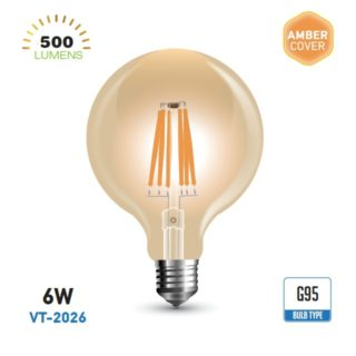 LED Λάμπα E27 G95 6W V-TAC Amber Cover Dimmable Θερμό Λευκό 2200K