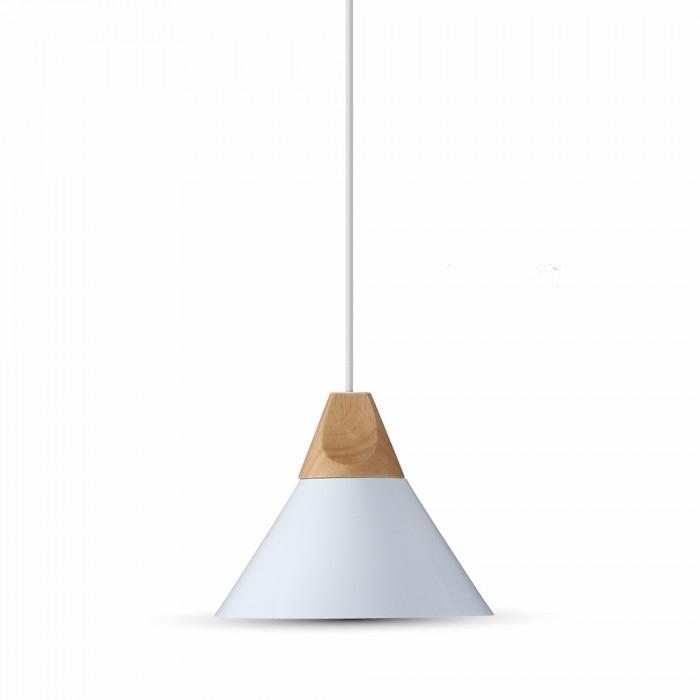 Κρεμαστό Φωτιστικό Οροφής Μονόφωτο E27 ø260 Αλουμίνιο-Ξύλο Λευκό V-TAC