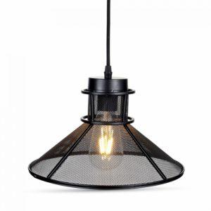Κρεμαστό Φωτιστικό Οροφής Μονόφωτο E27 ø290 Μεταλλικό Πλέγμα Καπέλο Μαύρο Ματ V-TAC