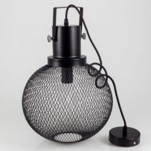 Κρεμαστό Φωτιστικό Οροφής Μονόφωτο E27 ø290 Μεταλλικό Πλέγμα Μαύρο Ματ V-TAC 3859