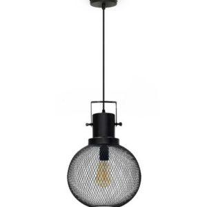 Κρεμαστό Φωτιστικό Οροφής Μονόφωτο E27 ø290 Μεταλλικό Πλέγμα Μαύρο Ματ V-TAC
