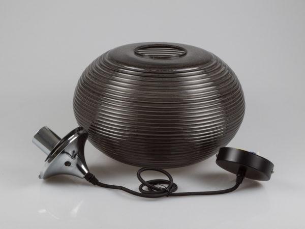 Κρεμαστό Φωτιστικό Οροφής Μονόφωτο E27 ø350 Γυαλί-Μέταλλο Μαύρο-Διάφανο V-TAC 3880