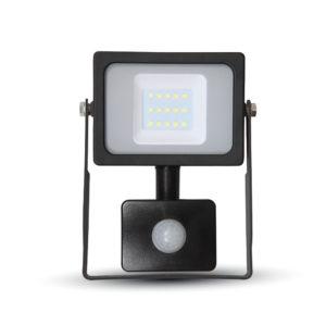 LED Προβολέας με Ανιχνευτή 10W V-TAC Μαύρος IP44 SMD Θερμό Λευκό 3000K