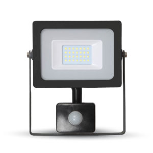 LED Προβολέας με Ανιχνευτή 20W V-TAC Μαύρος IP44 SMD Θερμό Λευκό 3000K