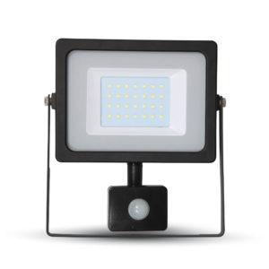 LED Προβολέας με Ανιχνευτή 30W V-TAC Μαύρος IP44 SMD Θερμό Λευκό 3000K