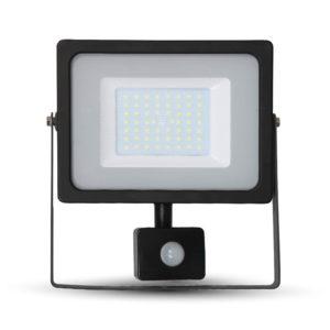 LED Προβολέας με Ανιχνευτή 50W V-TAC Μαύρος IP44 SMD Θερμό Λευκό 3000K
