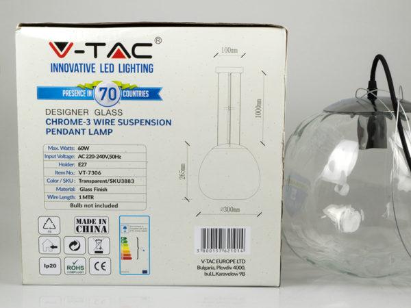 Κρεμαστό Φωτιστικό Οροφής Μονόφωτο E27 ø300 Γυαλί Διάφανο V-TAC 3883