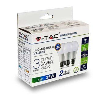 LED Λάμπα E27 A55 5W V-TAC Θερμό Λευκό 2700K - 7266