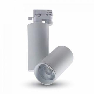 LED Μονοφασικό Φωτιστικό Ράγας 30W V-TAC Άσπρο Περιστρεφόμενο Ψυχρό Λευκό 6400K - 1294