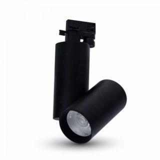 LED Μονοφασικό Φωτιστικό Ράγας 30W V-TAC Μαύρο Περιστρεφόμενο Θερμό Λευκό 3000K - 1295