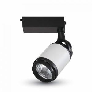 LED Μονοφασικό Φωτιστικό Ράγας 35W V-TAC Άσπρο-Μαύρο Περιστρεφόμενο Θερμό Λευκό 3000K - 1338