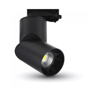 LED Φωτιστικό Ράγας 20W V-TAC Μαύρο Περιστρεφόμενο Ψυχρό Λευκό 6000K - 1202