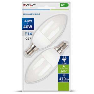 LED Λάμπα E14 5.5W V-TAC 2 Τμχ Φυσικό Λευκό 4000K - 7292
