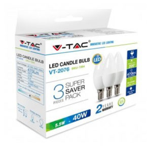 LED Λάμπα E14 5.5W V-TAC 3 Τμχ Θερμό Λευκό 2700K - 7263