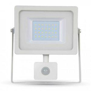 LED Προβολέας με Ανιχνευτή 30W V-TAC Λευκός IP44 SMD Φυσικό Λευκό 4000K - 5823