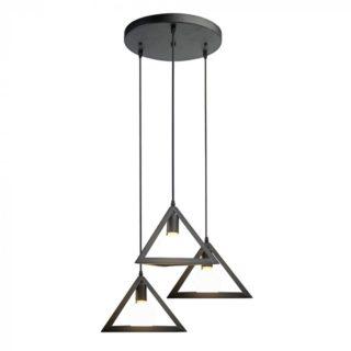 Κρεμαστό Φωτιστικό Οροφής 3 Πυραμίδες E27 ø300 Μέταλλο Μαύρο V-TAC - 3927