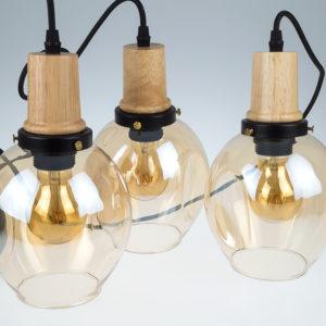 Τριπλό Κρεμαστό Φωτιστικό Οροφής E27 ø300 Γυαλί-Ξύλο Μαύρο-Amber Cover V-TAC - 3926