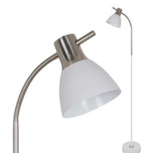 LED Φωτιστικό Δαπέδου E27 V-TAC Λευκό-Νίκελ Αλουμίνιο-Γυαλί - 3704