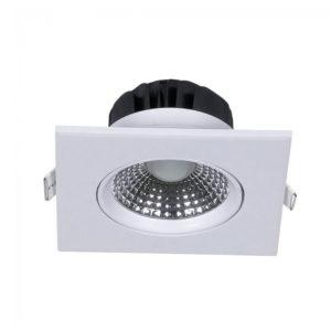 LED Φωτιστικό Οροφής Χωνευτό 5W V-TAC Ø75mm Τετράγωνο με Ρυθμιζόμενη Γωνία Θερμό Λευκό 3000K - 7332