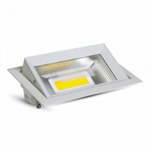 LED Φωτιστικό Οροφής COB 30W V-TAC Ορθογώνιο Χωνευτό Θερμό Λευκό 3000K - 1306
