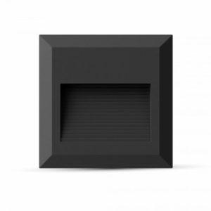 Επιτοίχιο Φωτιστικό LED για Σκαλοπάτια 2W V-TAC Μαύρο Τετράγωνο Αδιάβροχο IP65 Θερμό Λευκό 3000K - 1323