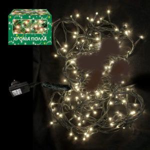 100 LED Χριστουγεννιάτικα Λαμπάκια ΛΕΥΚΑ Εξωτερικού Χώρου IP44 8 Προγραμμάτων 24V 931001