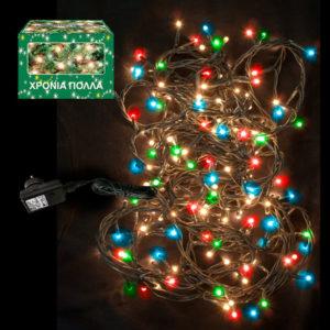100 LED Χριστουγεννιάτικα Λαμπάκια ΧΡΩΜΑΤΙΣΤΑ Εξωτερικού Χώρου IP44 8 Προγραμμάτων 24V 931002