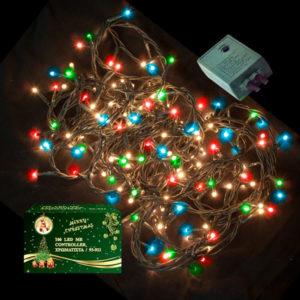 100 LED Χριστουγεννιάτικα Λαμπάκια ΧΡΩΜΑΤΙΣΤΑ Εσωτερικού Χώρου IP20 8 Προγραμμάτων 220-240V 93921