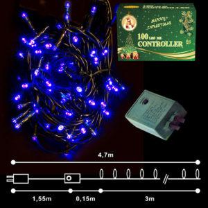 100 LED Χριστουγεννιάτικα Λαμπάκια ΜΠΛΕ Εσωτερικού Χώρου IP20 8 Προγραμμάτων 24V 93-926