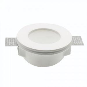 Γύψινη Βάση Σποτ GU10 με Γυαλί V-TAC Χωνευτή Στρογγυλή Λευκή - 3692