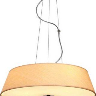 Κρεμαστό Φωτιστικό Οροφής 4xE27 ø450 Γυαλί-Ύφασμα Φυσικό Ξύλο ACA - DL607C