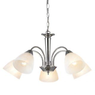 Κρεμαστό Φωτιστικό Οροφής 5xE14 Μεταλλικό Χρώμιο-Λευκό ACA - DLX7395