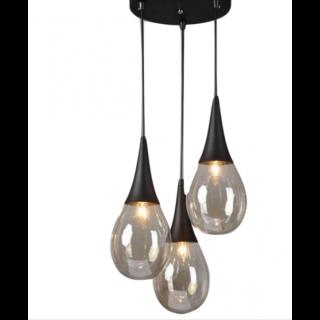 Κρεμαστό Φωτιστικό Οροφής Σταγόνα 3xE14 Ø400 Μέταλλο-Γυαλί Μαύρο ACA - OD53423RBK