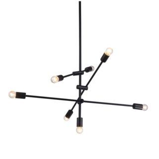 Κρεμαστό Φωτιστικό Οροφής 7xE27 με Ρυθμιζόμενους Σωλήνες Μεταλλικό Μαύρο ACA - OD680107BK